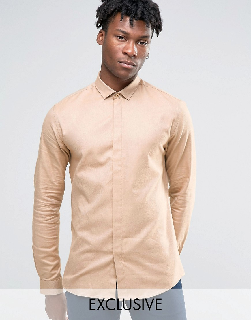 Heart and Dagger Skinny Shirt In Brushed Twill - Camel