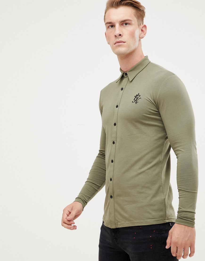 Gym King long sleeve jersey shirt in olive - Khaki