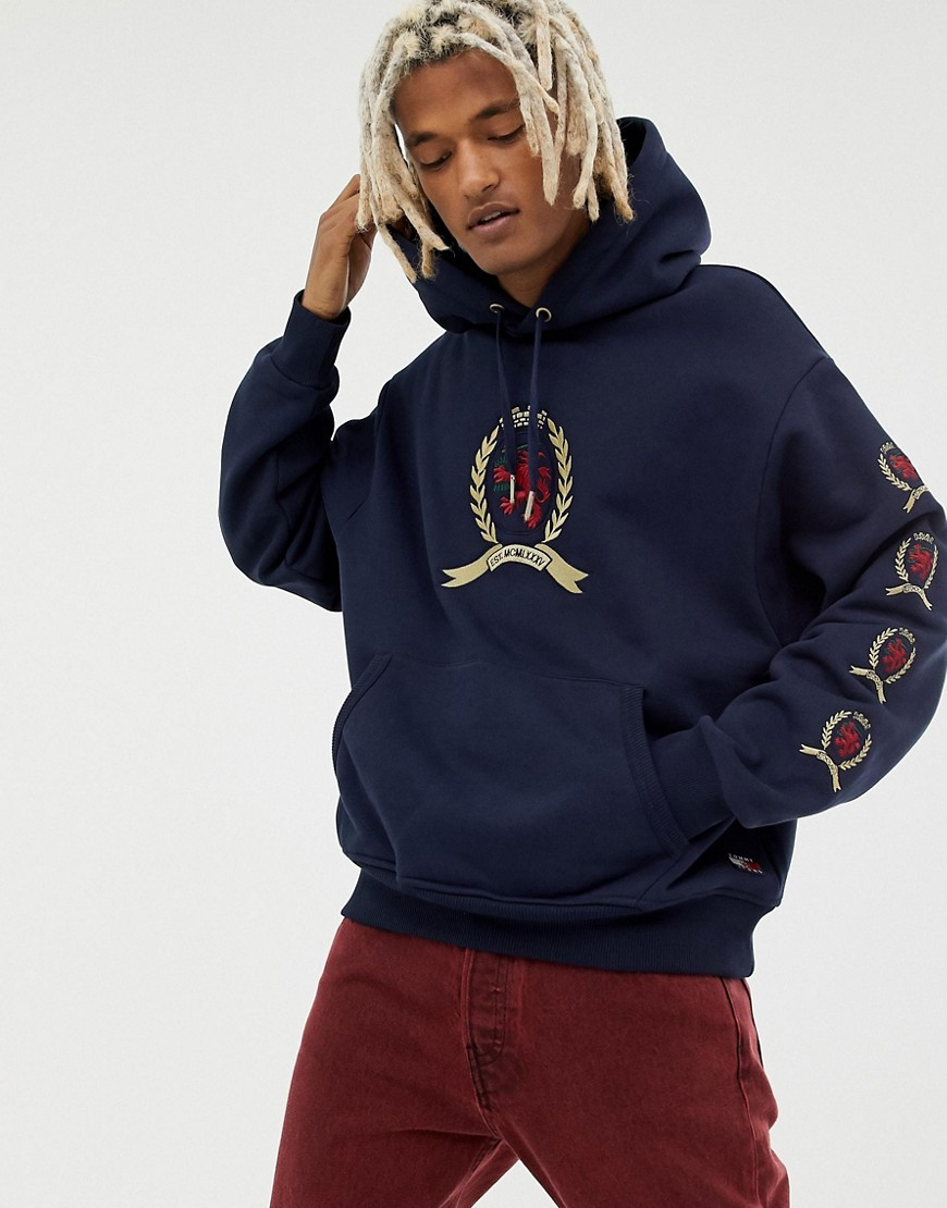 Tommy Jeans 6.0 Limited Capsule hoodie with repeat crest logo in navy - Dark sapphire
