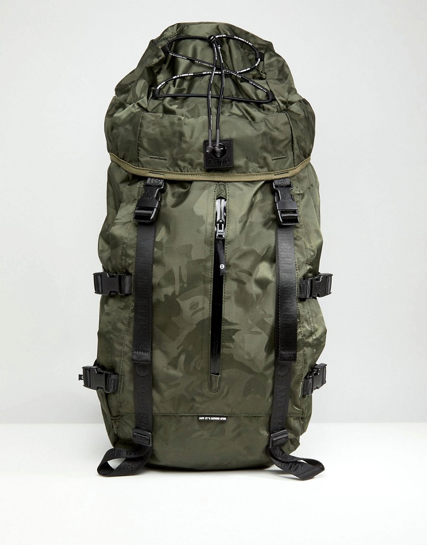 AAPE By A Bathing Ape Large Backpack In Camo - Green