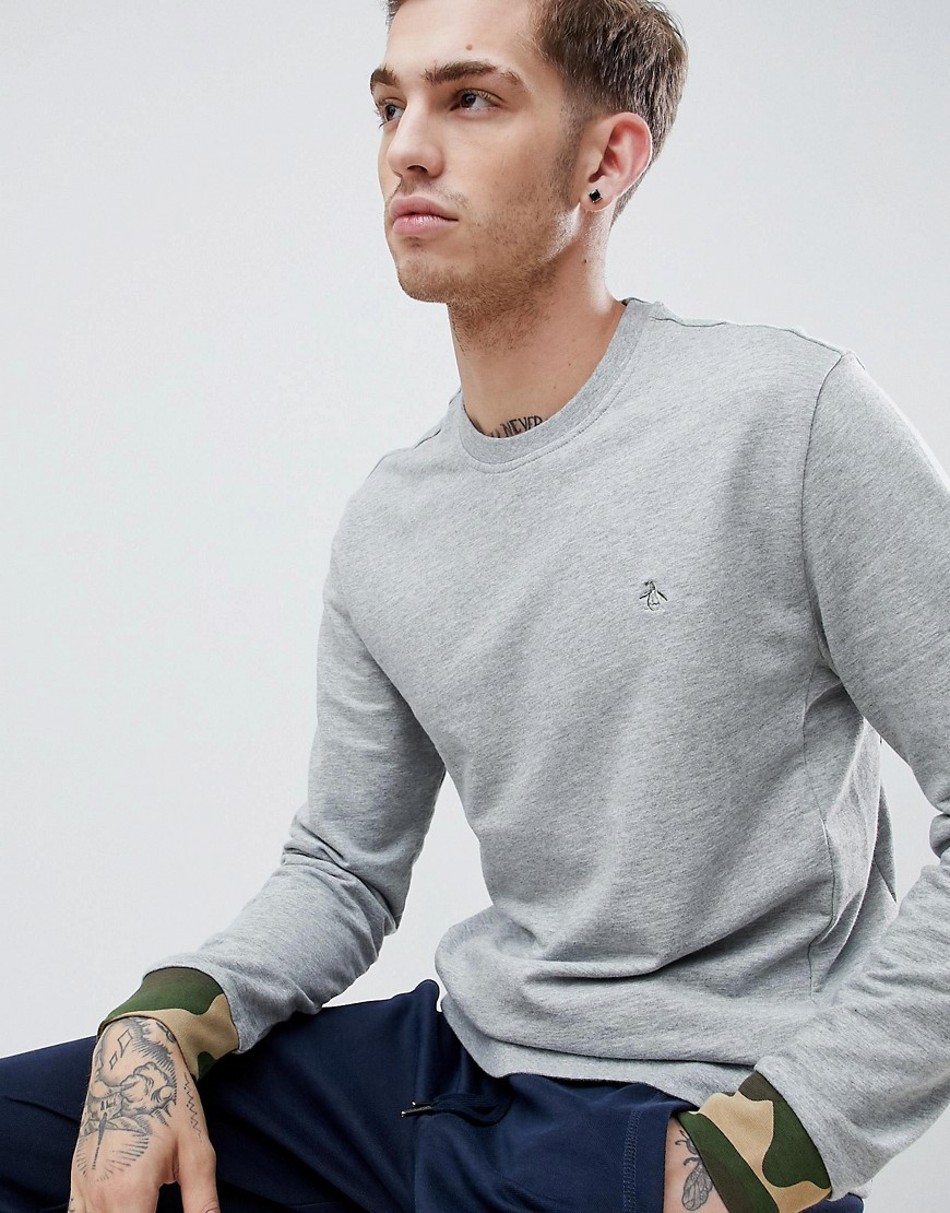 Original Penguin camo cuff crewneck sweatshirt zip detail logo slim fit embroidered in grey marl - Rain heather