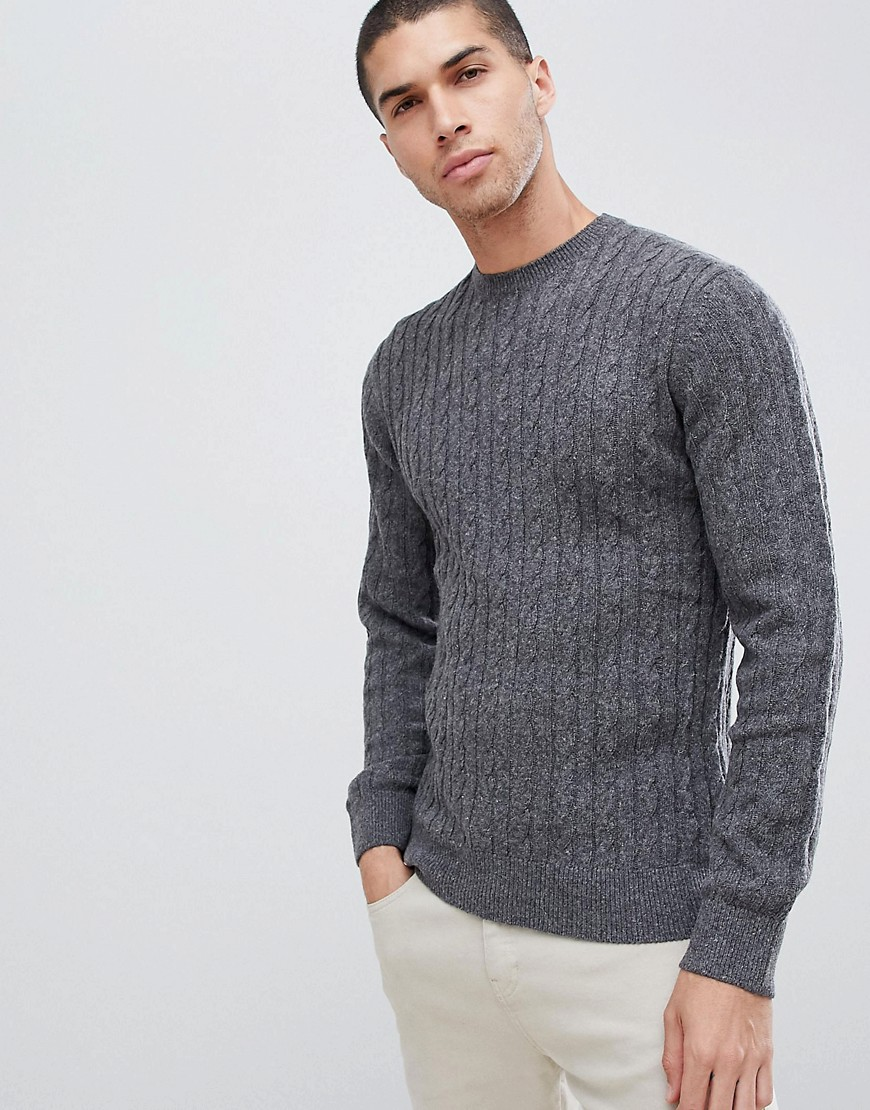 Barbour essential cable crew neck jumper in grey - Grey