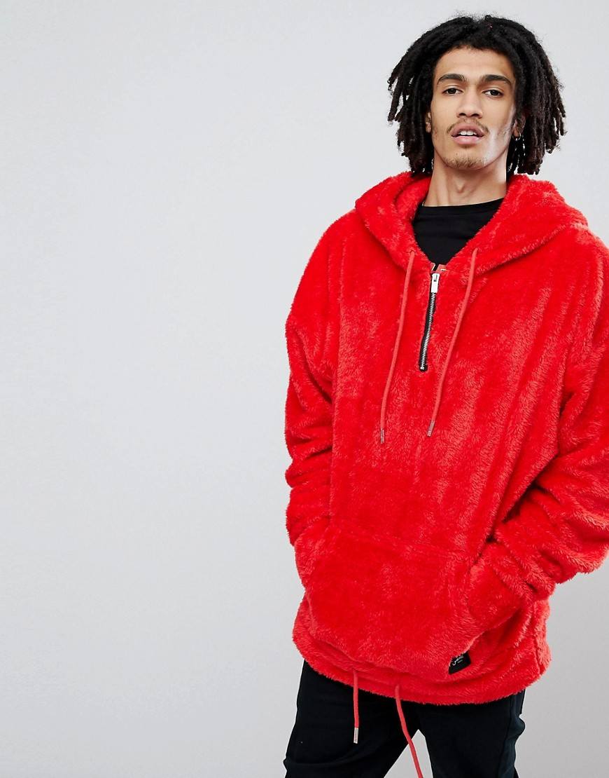 Sixth June Oversized Hoodie In Red Fluffy Borg - Red