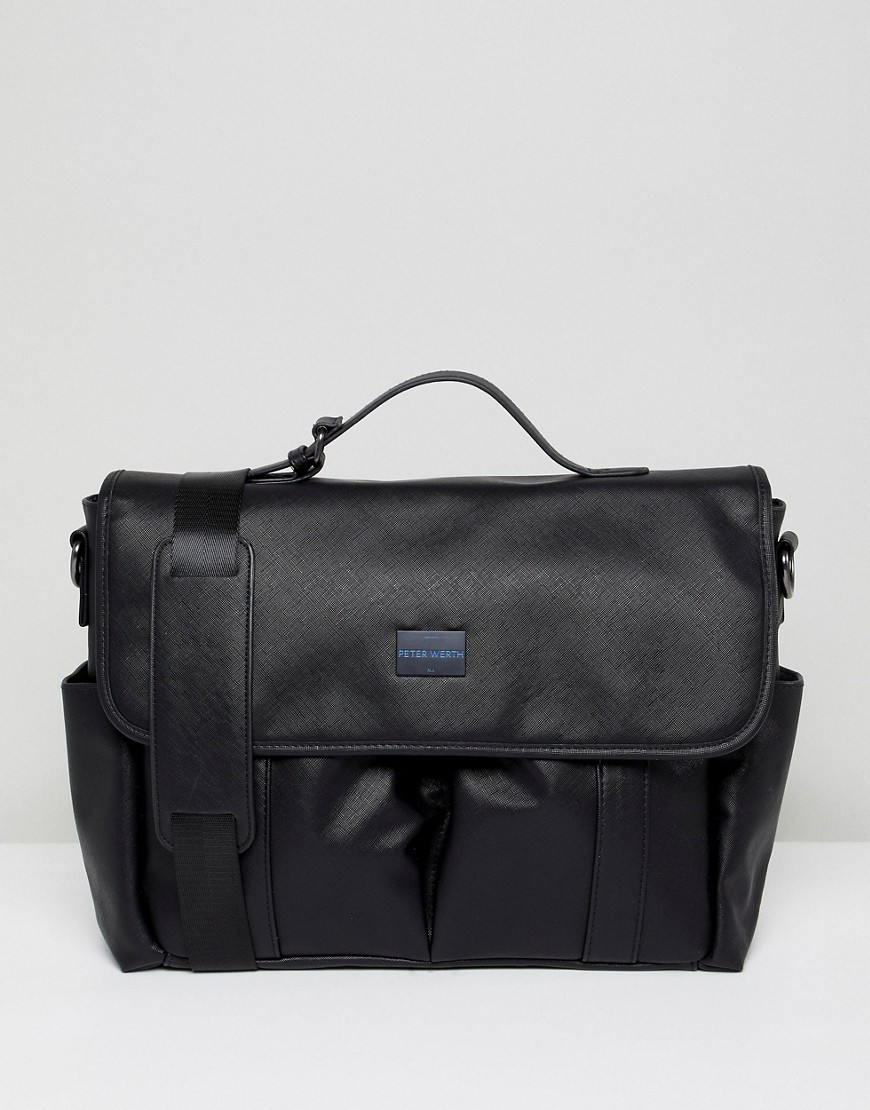 Peter Werth Etched Messenger Bag In Black - Black