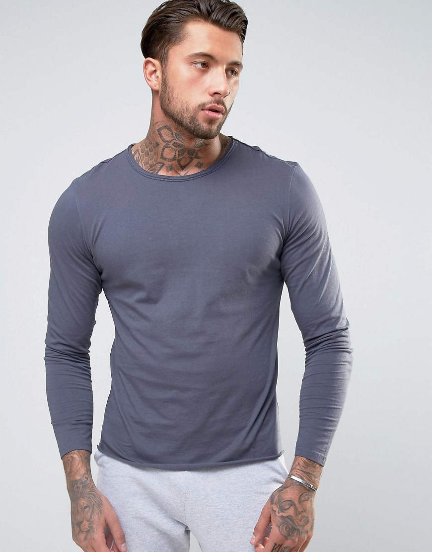 Another Influence Basic Raw Edge Long Sleeve Top - Navy