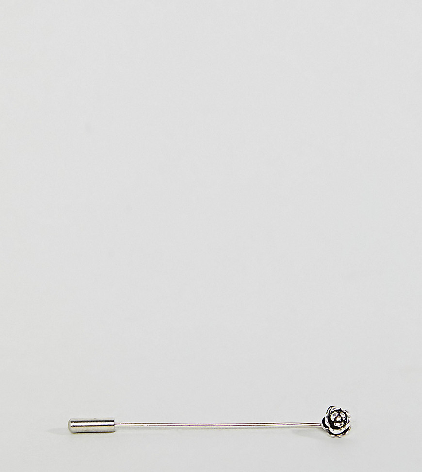 DesignB Mini Flower Tie Pin In Sterling Silver Exclusive To ASOS - Silver