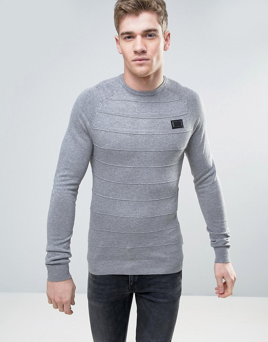 Born Rich Knitted Jumper with Raised Ribbed Stripe - Grey