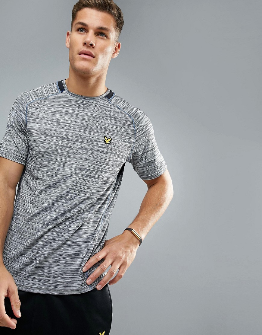 Lyle & Scott Fitness Jones Training T-Shirt in Grey Melange with Contrast Piping - Mid grey marl