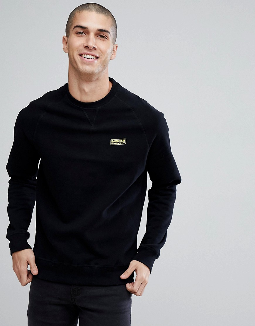 Barbour International Essential Crew Neck Sweat in Black - Black