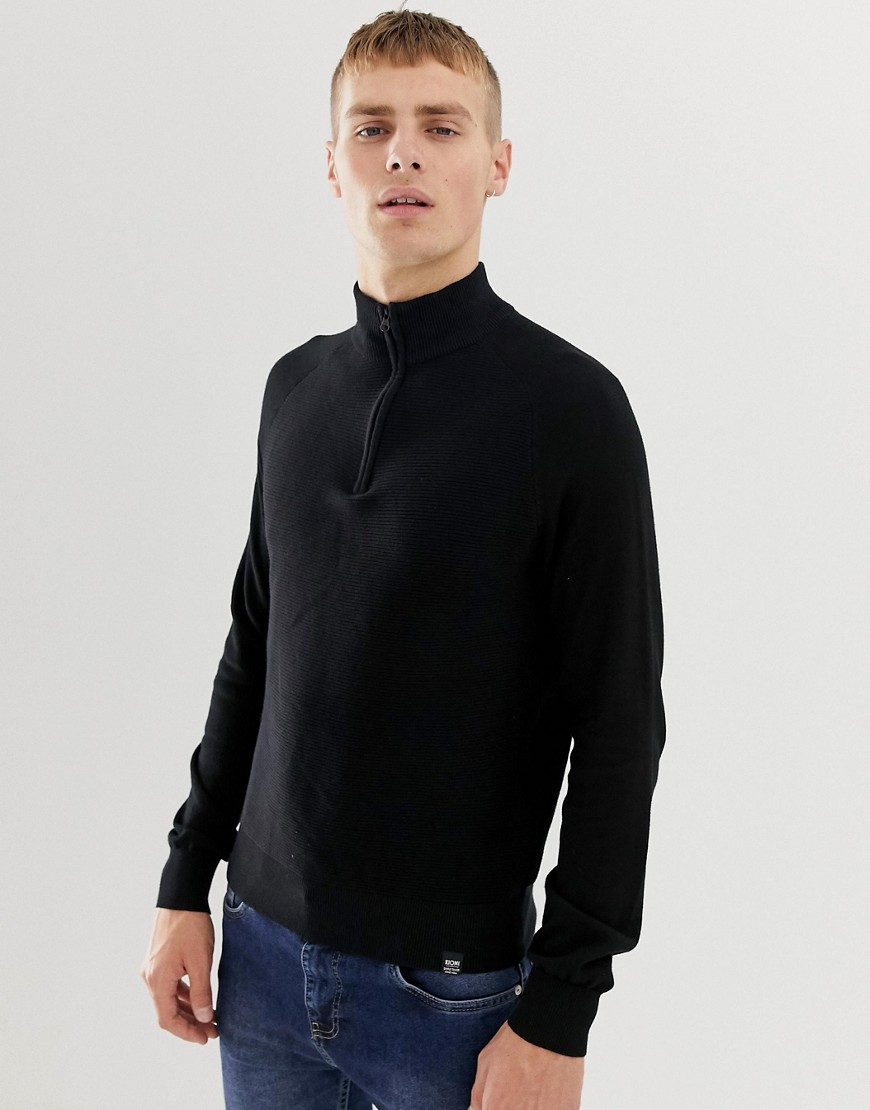Kiomi jumper in black with half zip funnel neck - Black