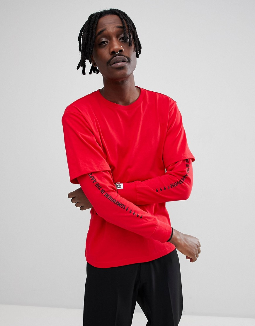AAPE By A Bathing Ape Long Sleeve Layered T-Shirt With Sleeve Print in Red - Red
