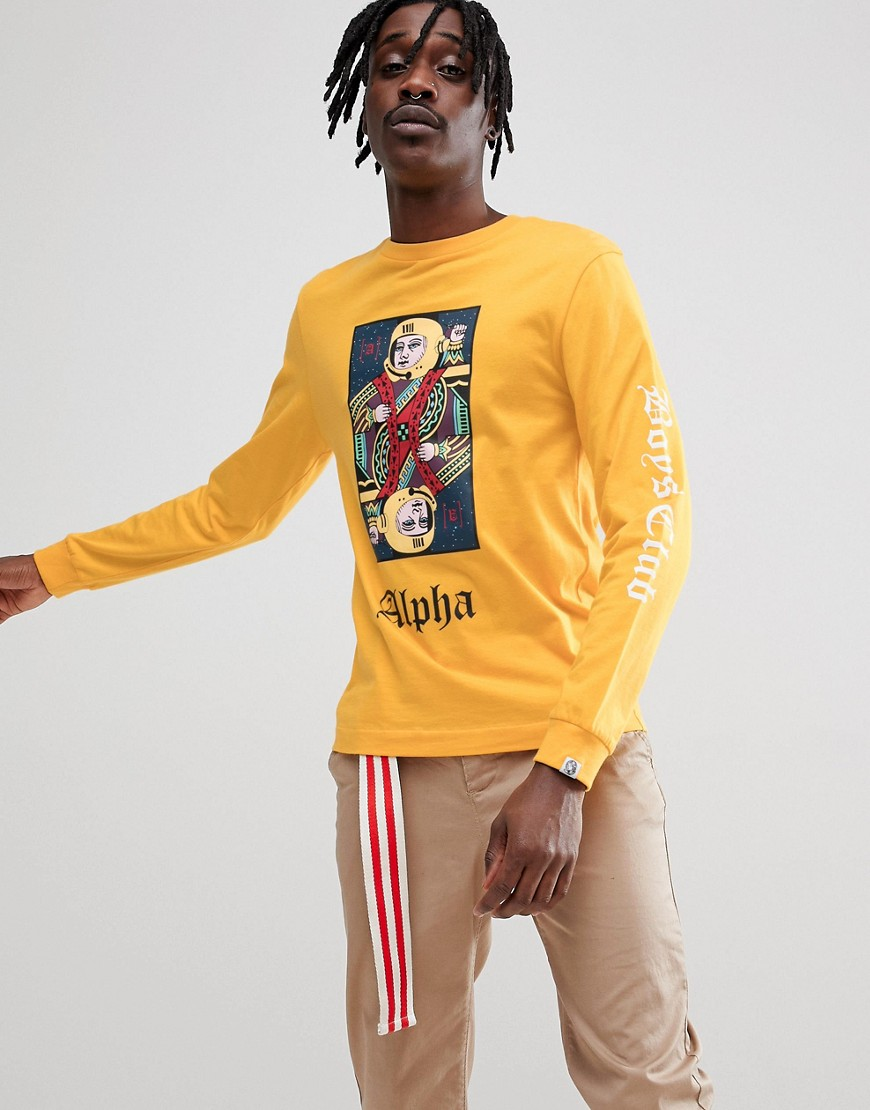 Billionaire Boys Club Long Sleeve T-Shirt With Playing Card Logo In Yellow - Yellow