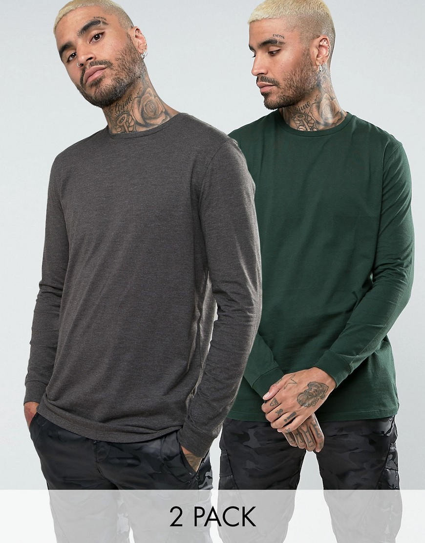 ASOS 2 Pack Longline Long Sleeve T-Shirt - Cactus/charcoal marl