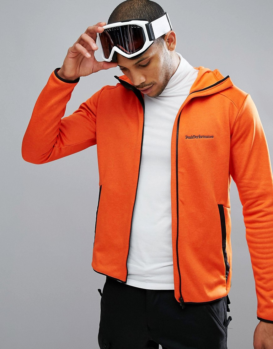 Peak Performance Fleece Half Zip Fleck Sweat In Orange - 85n orange lava