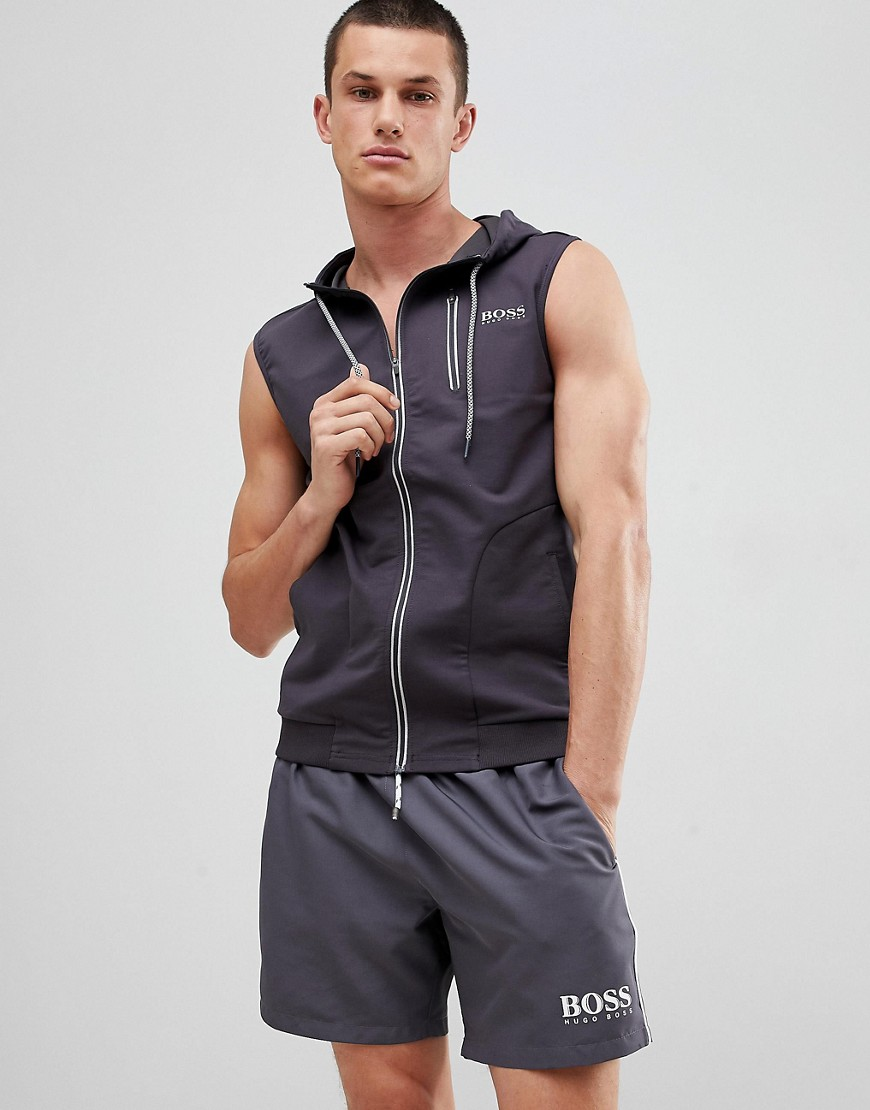 BOSS Beach Vest with Hood - Grey