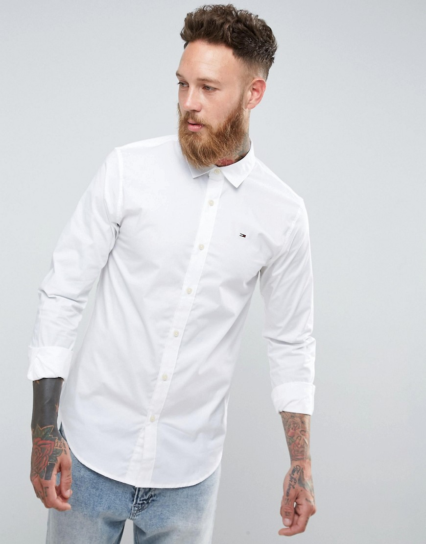 tommy Hilfiger Denim Shirt with Flag Logo In Stretch In Slim Fit - White