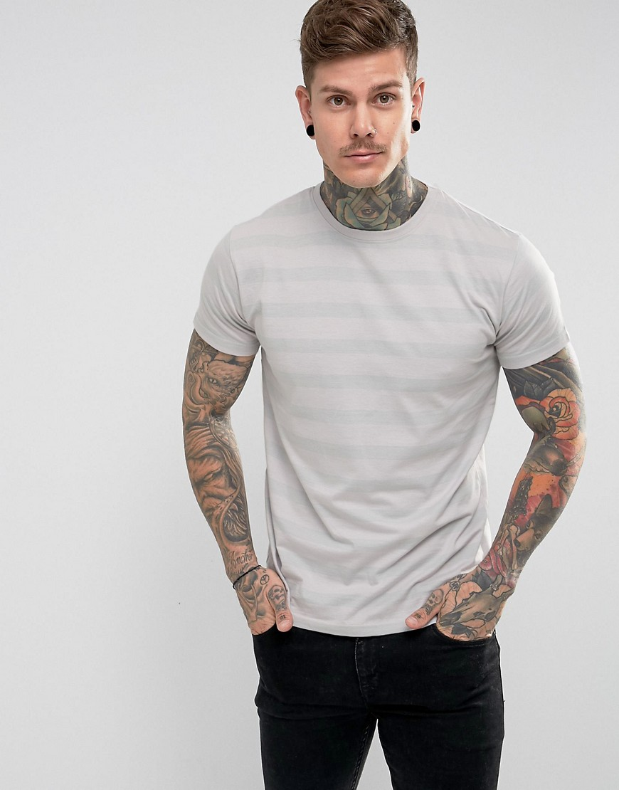 Hoxton Denim Striped T-Shirt - Grey