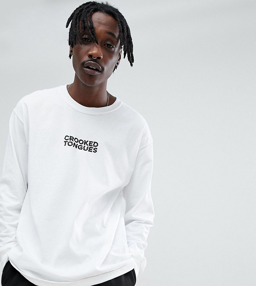 Crooked Tongues Long Sleeve T-Shirt With Logo Print In White - White