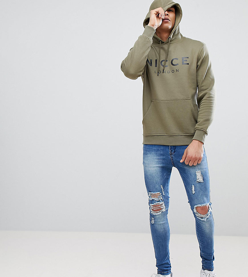 Nicce London Hoodie In Green With Large Logo - Khaki