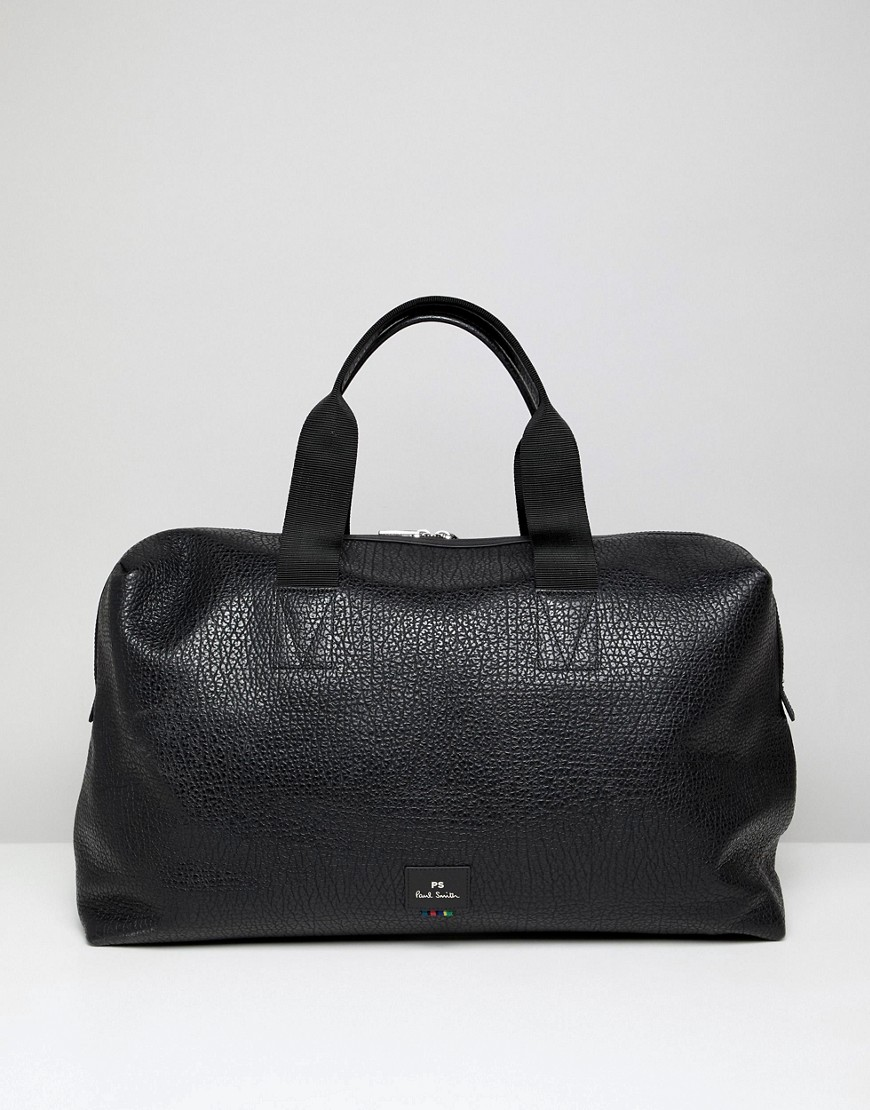 PS Paul Smith grained leather holdall in black - Black