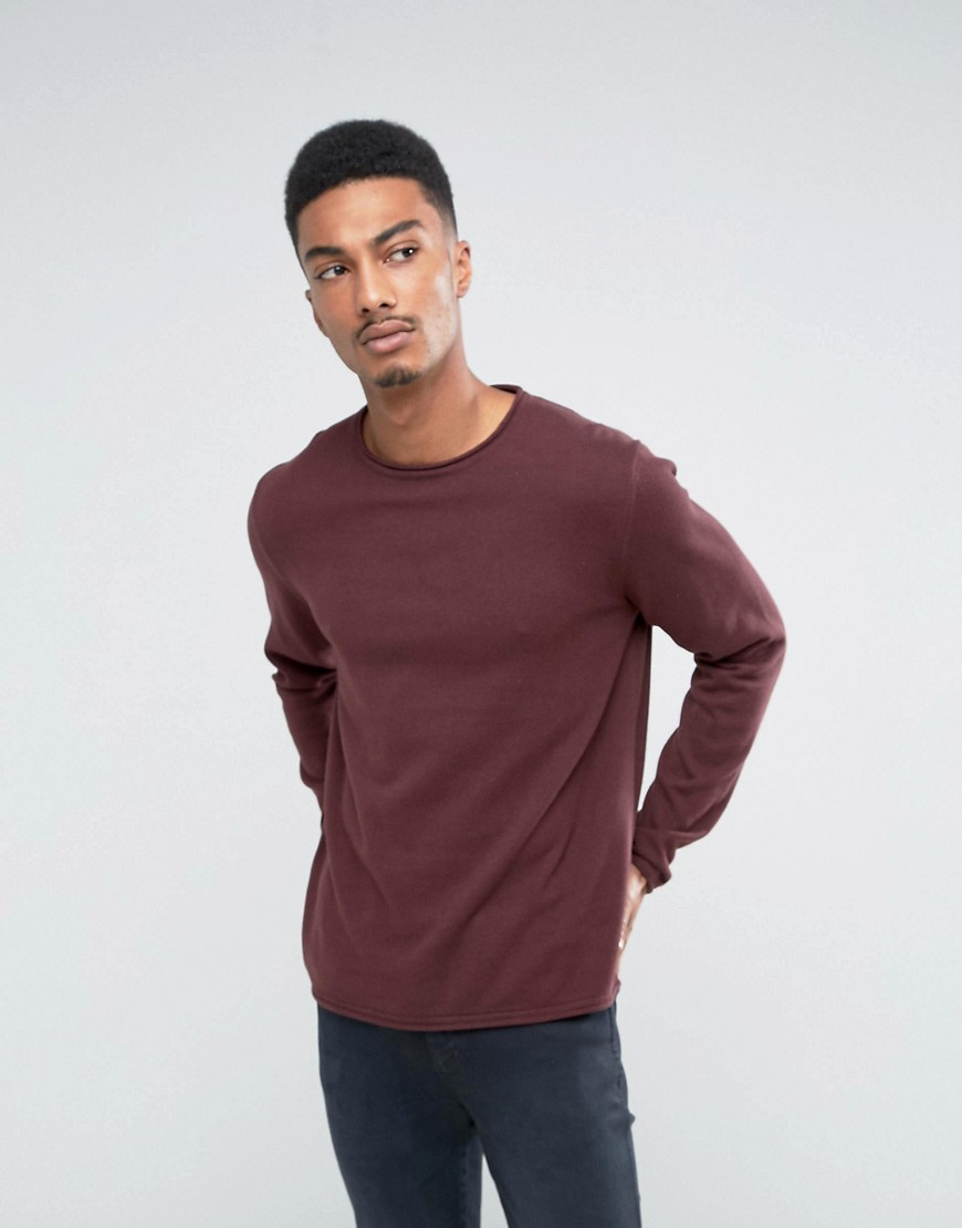 Only & Sons Cotton Crew Neck Knitted Jumper - Red