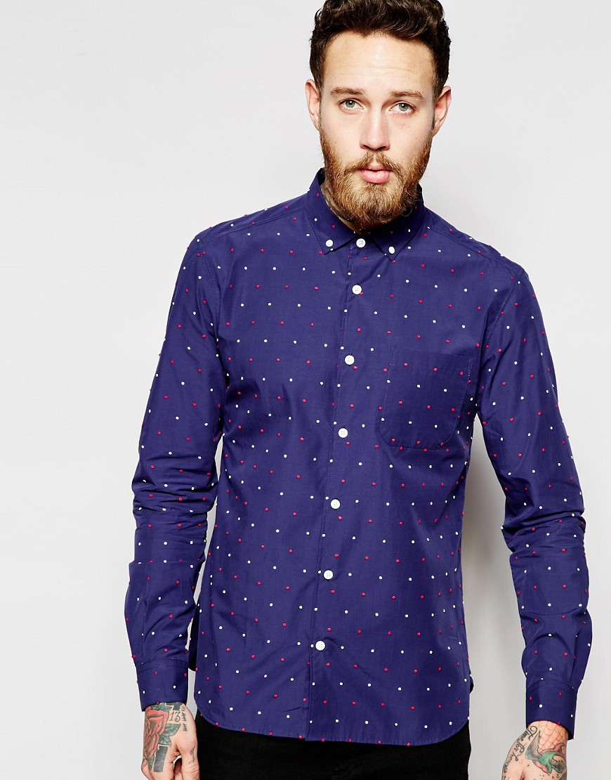YMC Shirt With Multicoloured Small Spot - Navy