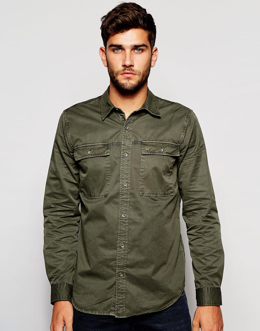 True Religion Workwear Shirt in Faded Olive - Faded olive