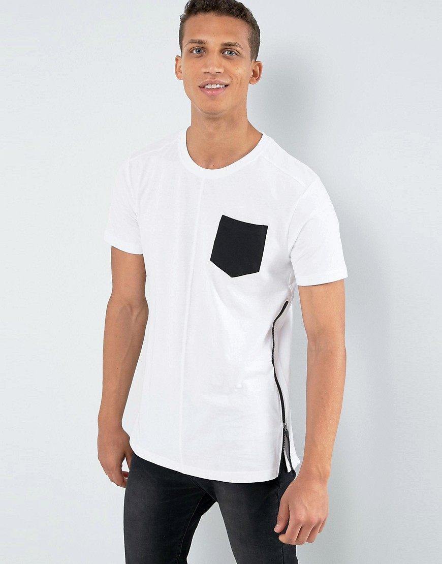 Loyalty and Faith Longline Pocket T-Shirt with Zip Detail - White