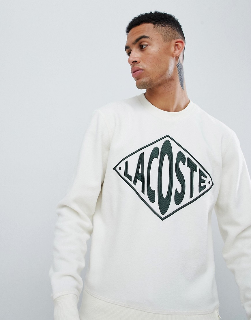 Lacoste L!VE unisex borg logo sweat in off white - White