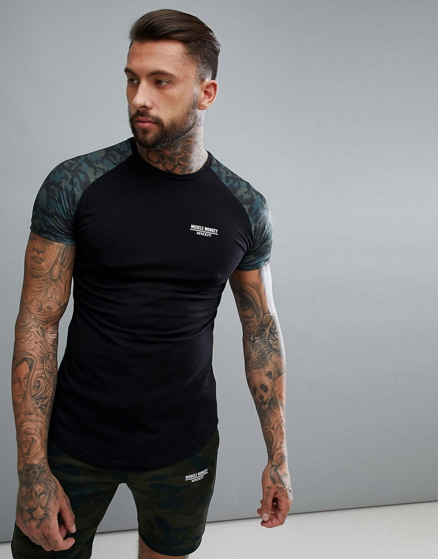 Muscle Monkey Muscle T-Shirt In Black With Camo Sleeves - Black