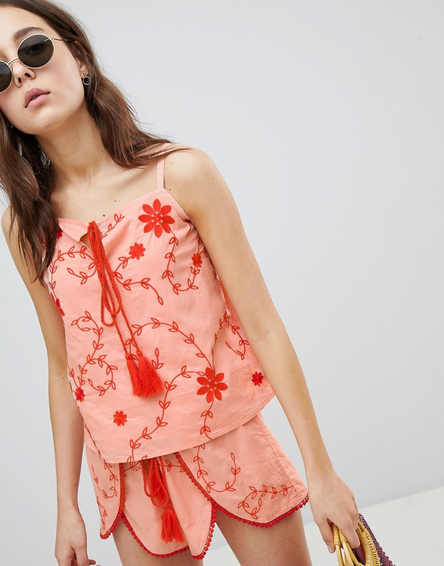 Glamorous Top With Tassel Tie Front In Contrast Embroidery Co-Ord - Light coral