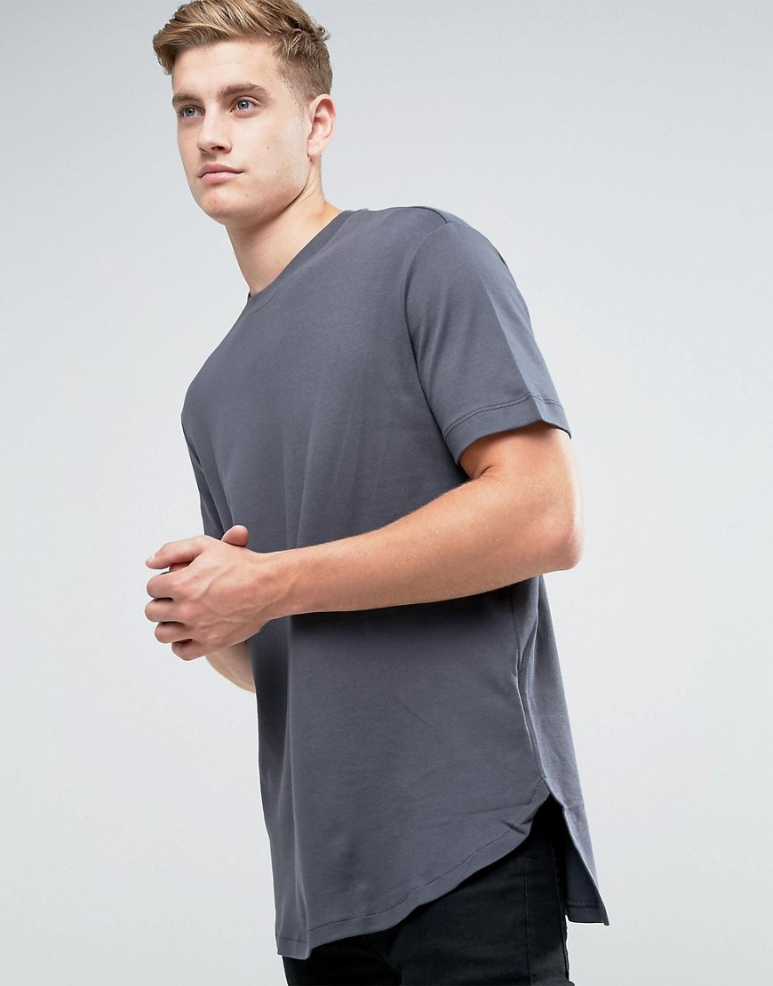 Kiomi Longline Heavyweight T-Shirt With Step Hem In Grey - Grey