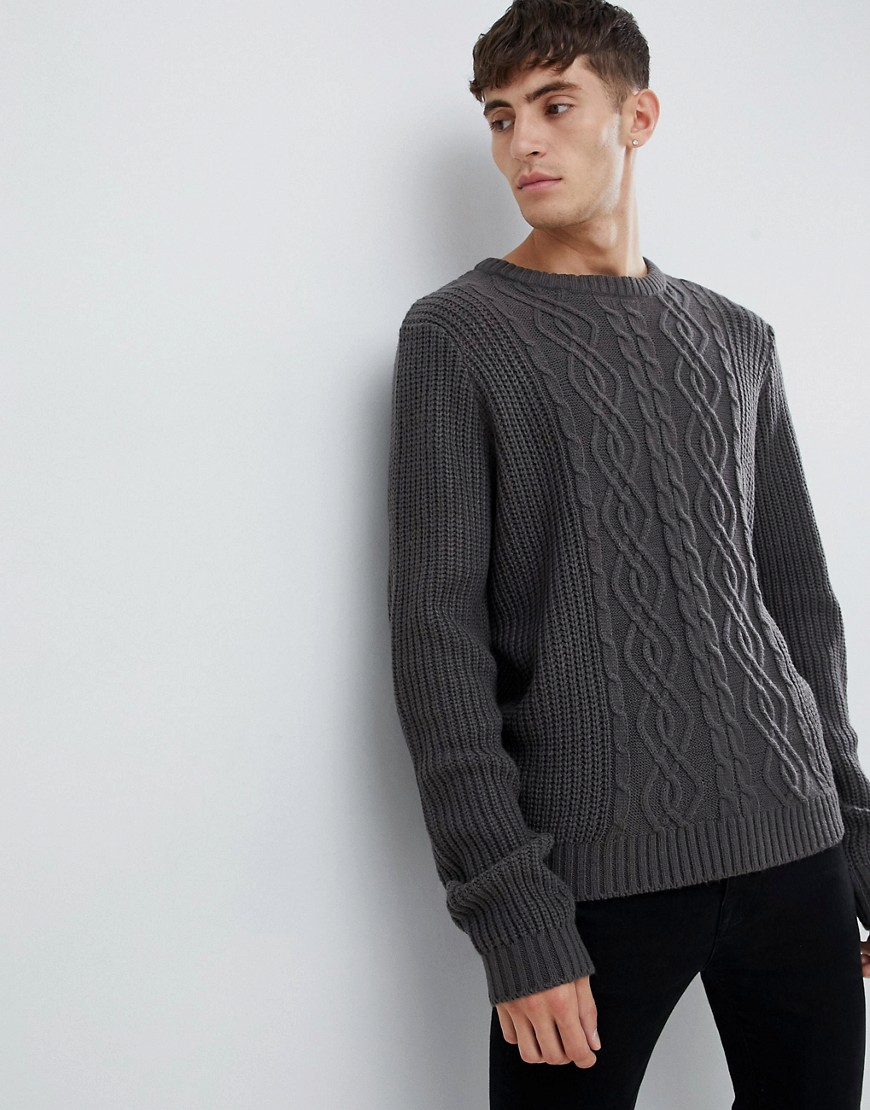 D-Struct Chunky Cable Nep Jumper - Charcoal nep
