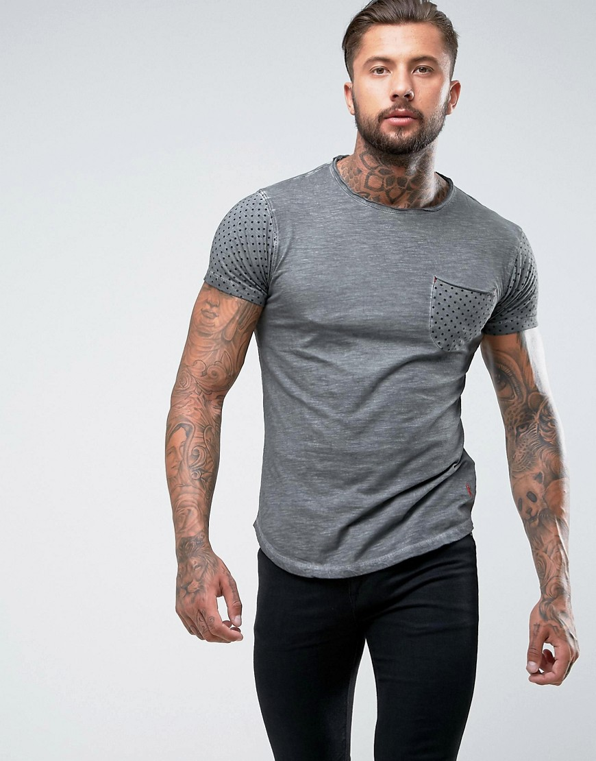 Ringspun Polka Dot Pocket T-Shirt - Grey