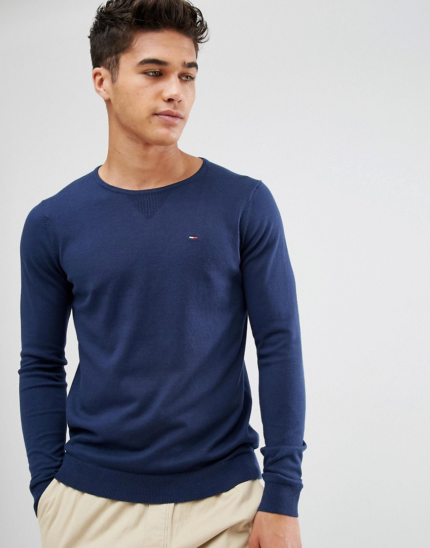 Tommy Hilfiger Denim Jumper with Crew Neck In Navy - Navy