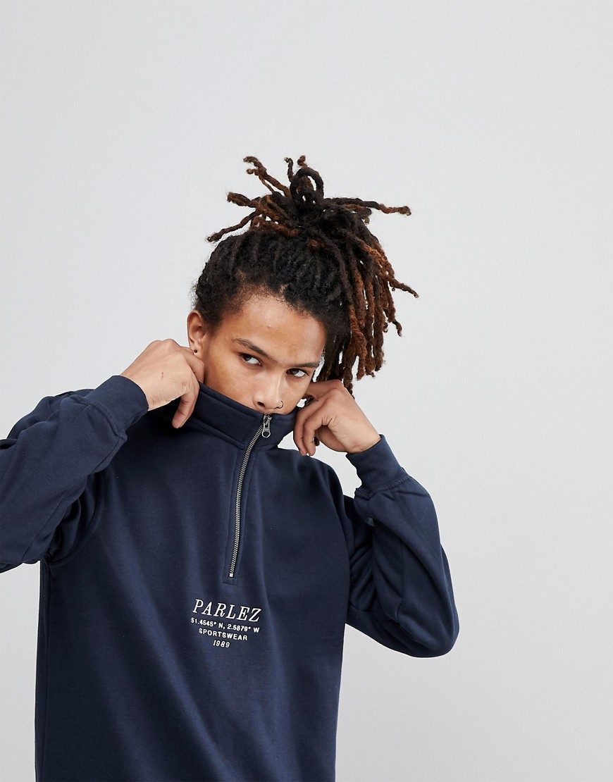 Parlez 1/4 Zip Sweat With Embroidered Sport Logo In Navy - Navy