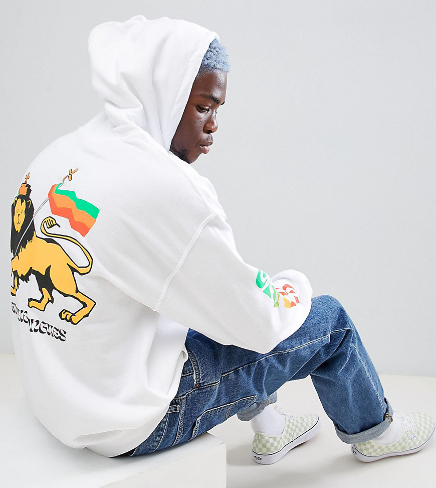 Crooked Tongues oversized hoodie with lion print in white - White