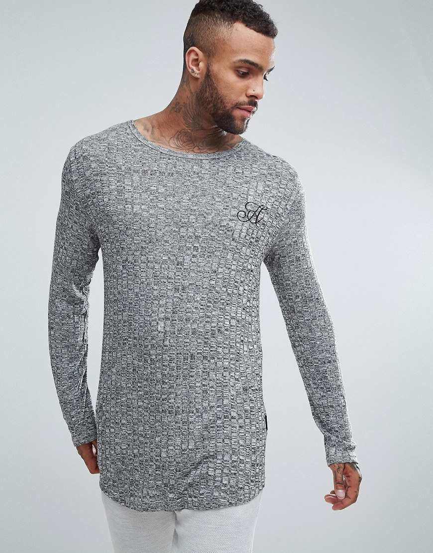 Ascend Long Sleeve Curved Hem Muscle Fit Top in Rib - Grey