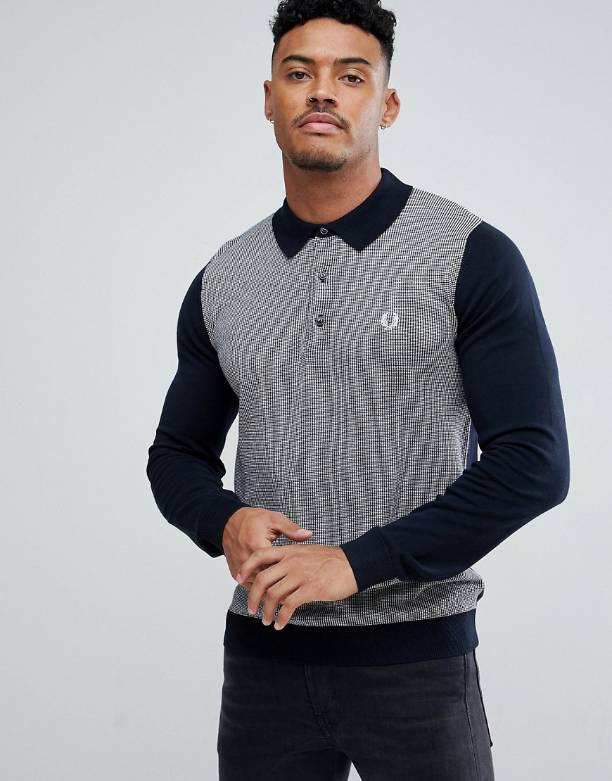 Fred Perry Jacquard Knitted Polo Shirt In Navy - 608
