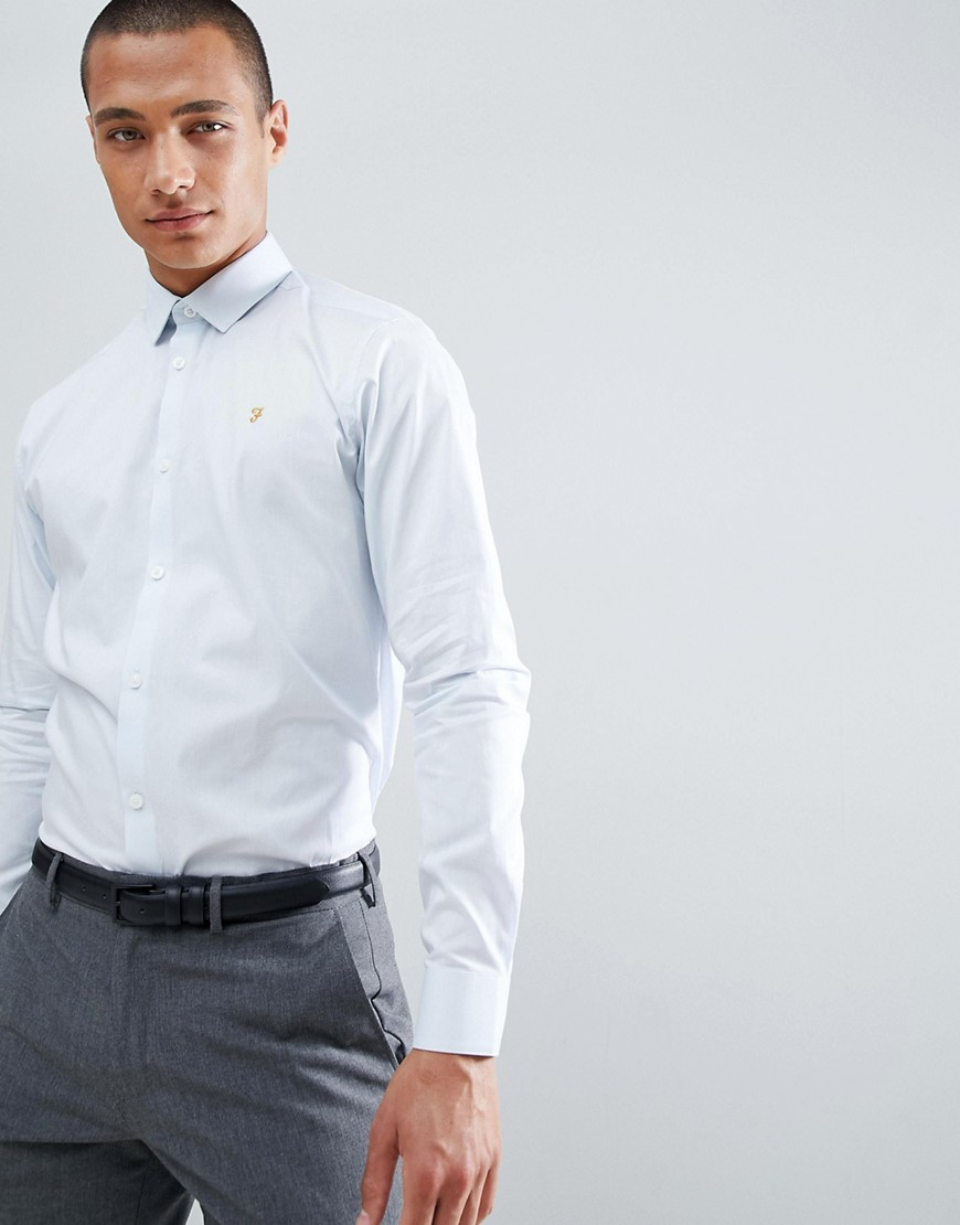 Farah Slim Long Sleeve Shirt - Powder blue