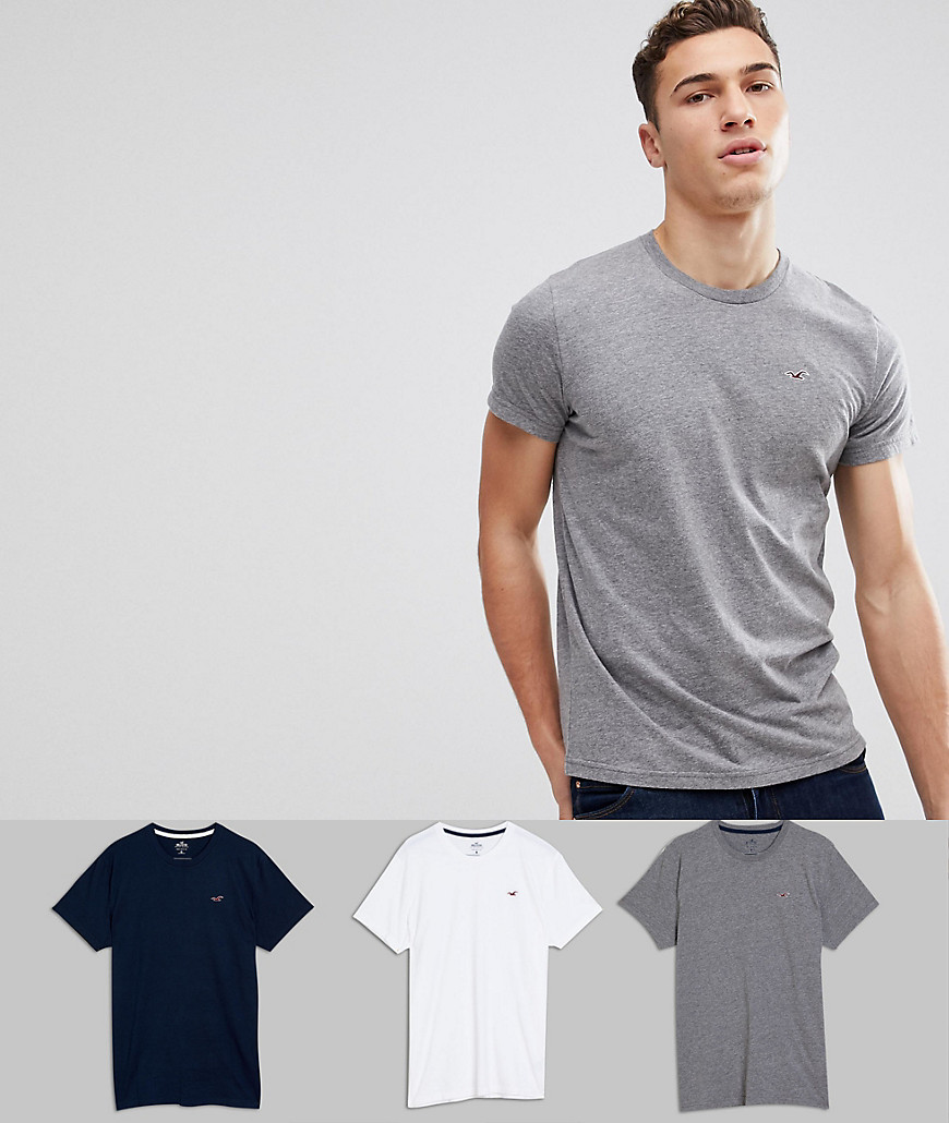 Hollister 3Pack T-Shirts With Crew Neck in White/Grey/Navy - Multi