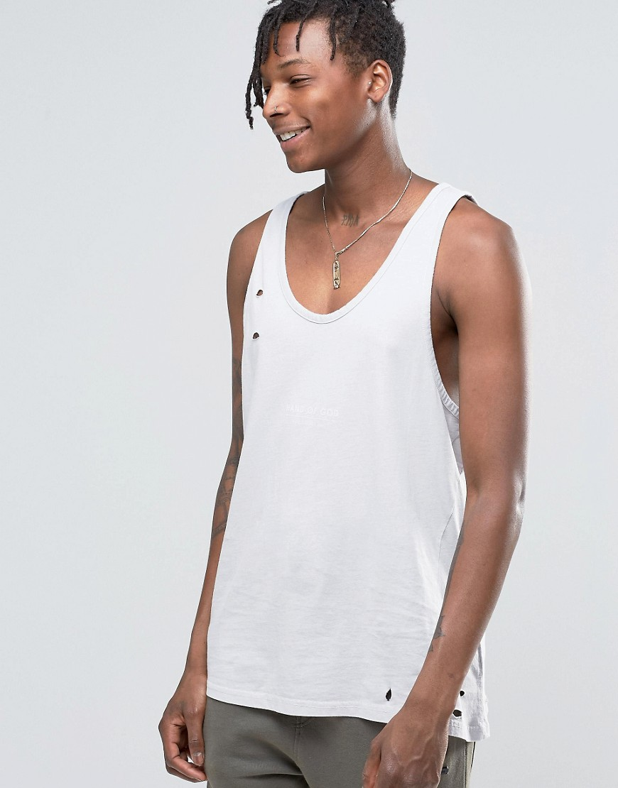 Hand Of God Oil Washed Vest With Asymetric Hem - Grey