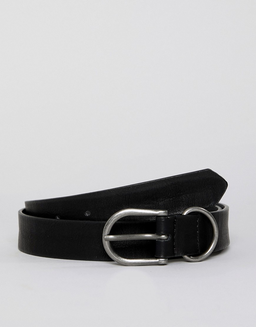 Bershka belt in black with silver buckle - Black
