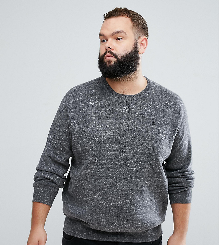 Polo Ralph Lauren Big & Tall Crew Neck Jumper in Grey Marl - Sierra grey heather