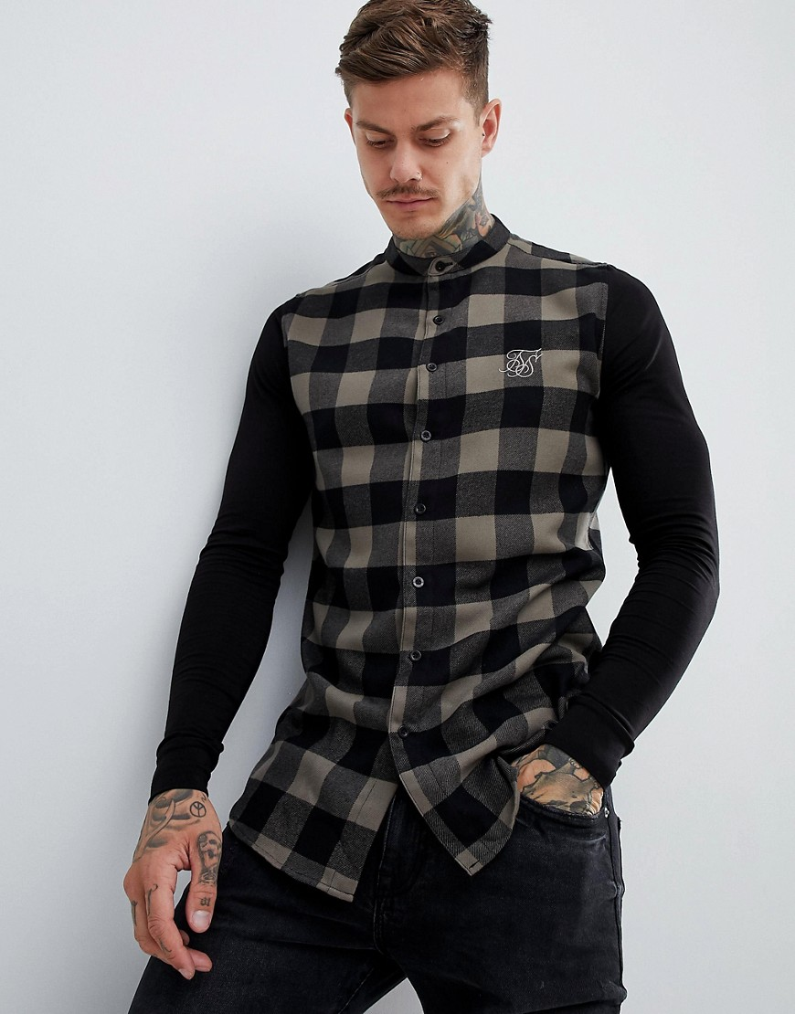 SikSilk grandad collar check shirt in khaki with jersey sleeves - Green
