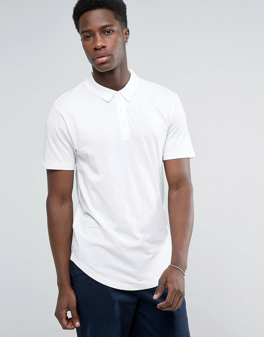 Troy Curved Hem Jersey Polo Shirt - White