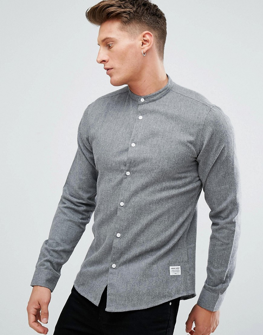 Solid Grandad Collar Shirt In Brushed Flannel - Light grey