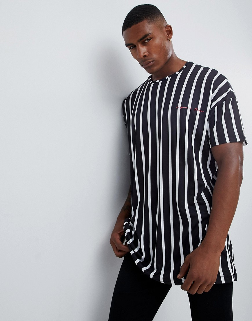 Liquor N Poker oversized t-shirt in vertical monochrome stripe - Black