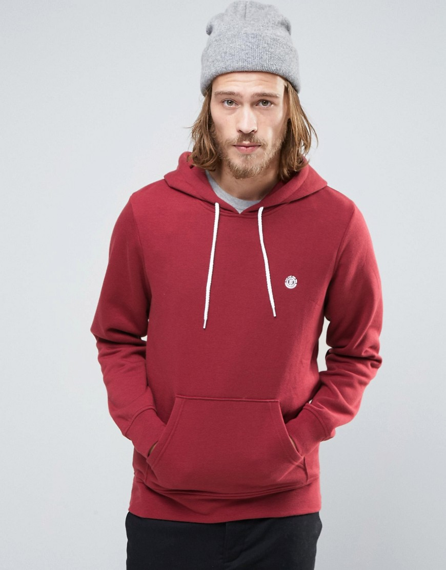 Element Cornell Hoodie Small Logo in Red Heather - Oxblood