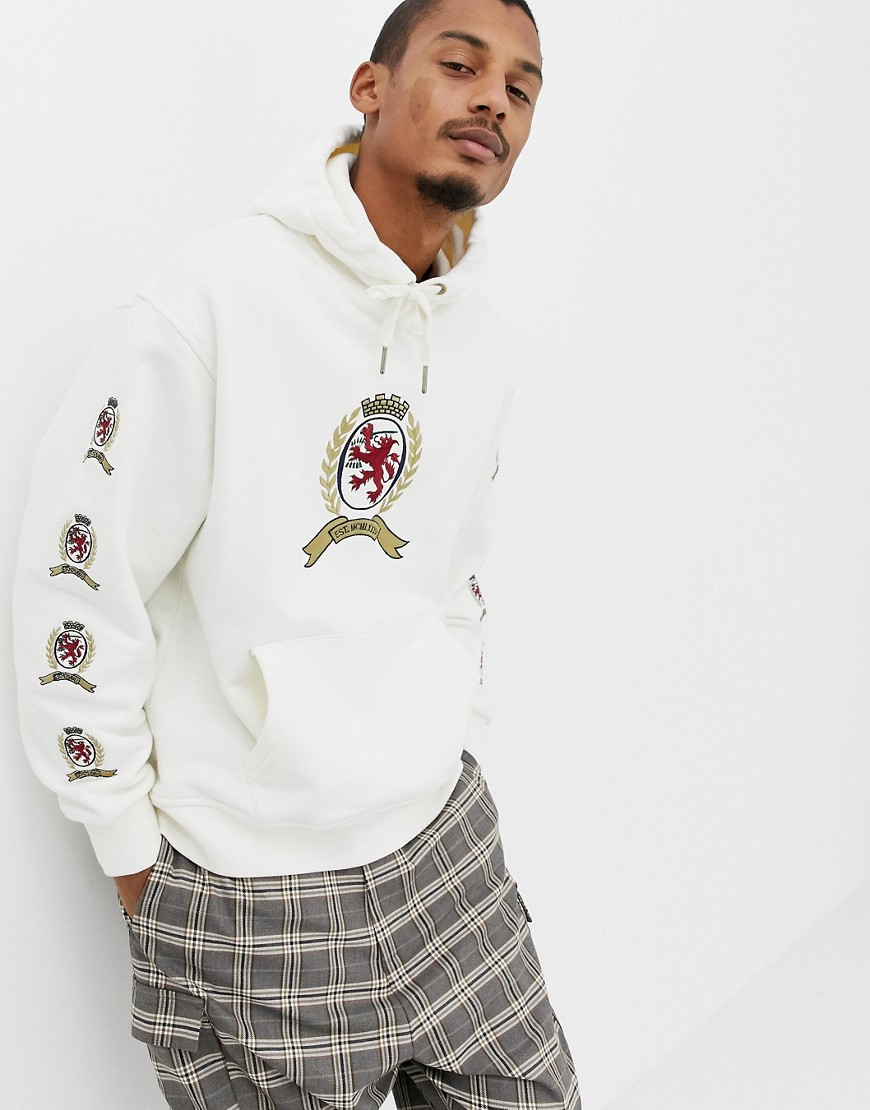 Tommy Jeans 6.0 limited capsule hoodie with repeat crest logo in white - Cloud dancer